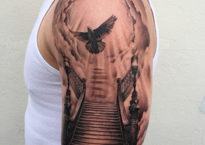 Stairway to Heaven Greyscale Tattoo