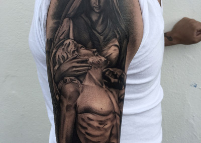 Mother Mary Greyscale Tattoo