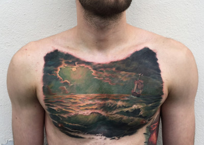 Seascape Full Color Chest Tattoo