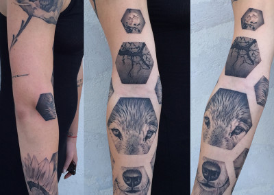 Geometric Sleeve Greyscale Tattoo