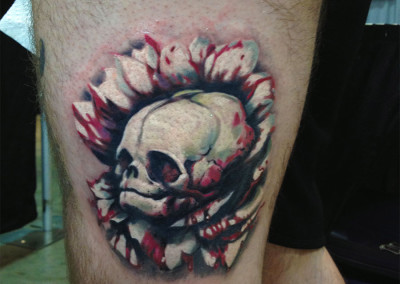 Alien Skull Full Color Tattoo