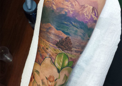 Landscape Sleeve Full Color Tattoo